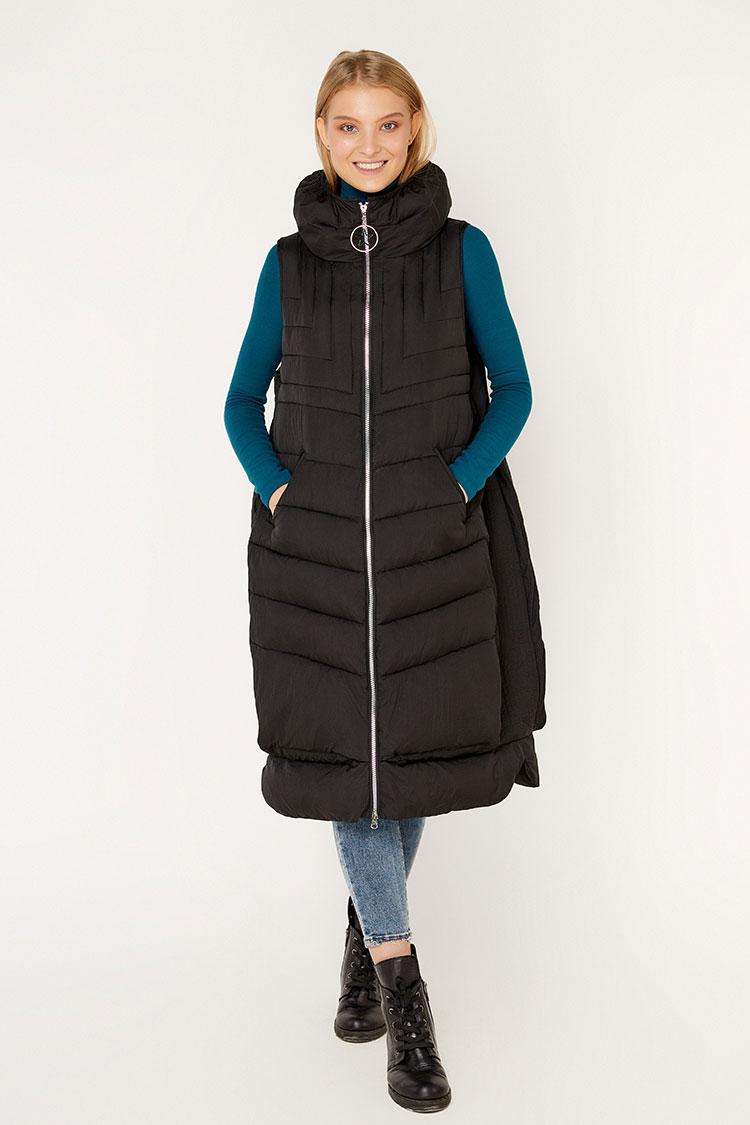 Куртка жiноча з полиэстера чорна, модель K 5134/KPS+жилет