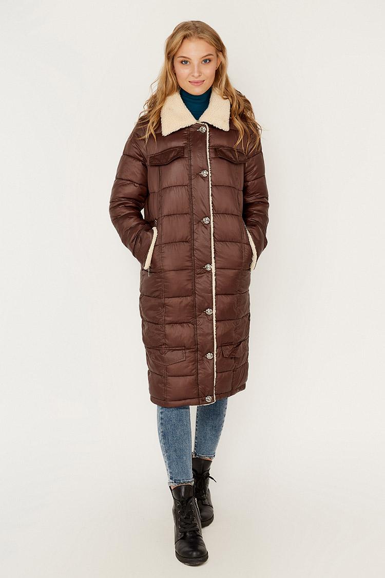 Куртка женская из полиэстера коричневая, модель 7194/KPS