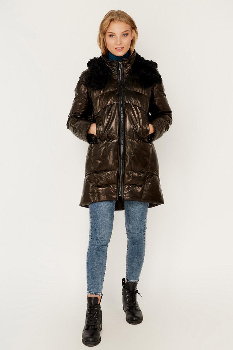Куртка женская из натуральной кожи черная, модель 1945/KPS