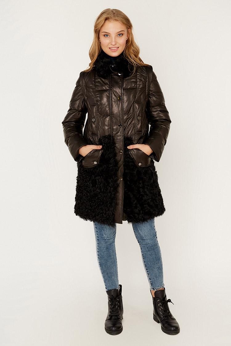 Куртка женская из натуральной кожи черная, модель 1946