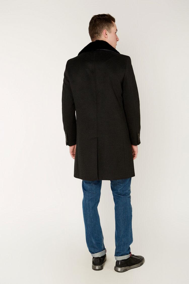 Пальто мужское из кашемира черное, модель 4030