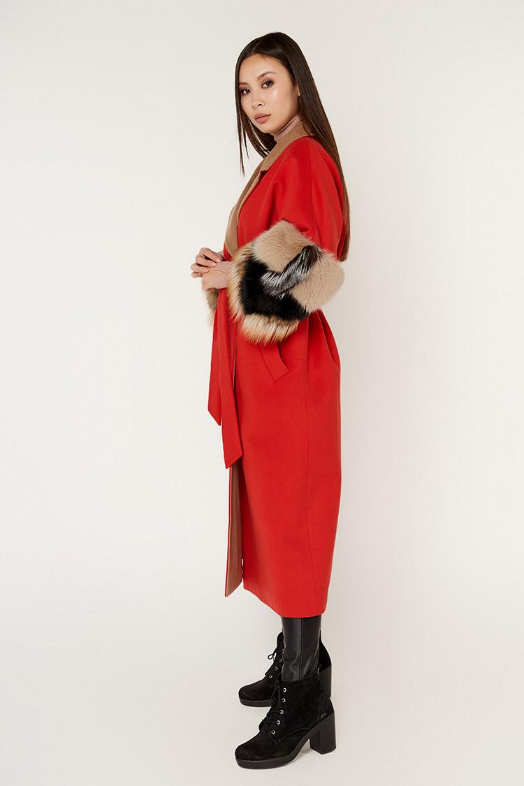 Пальта жіночі з кашеміру червоне, модель 1525