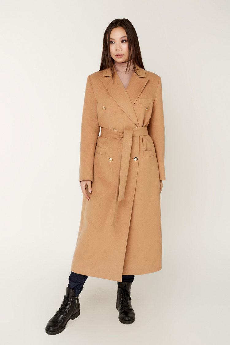 Пальто женское из кашемира бежевое, модель 1514