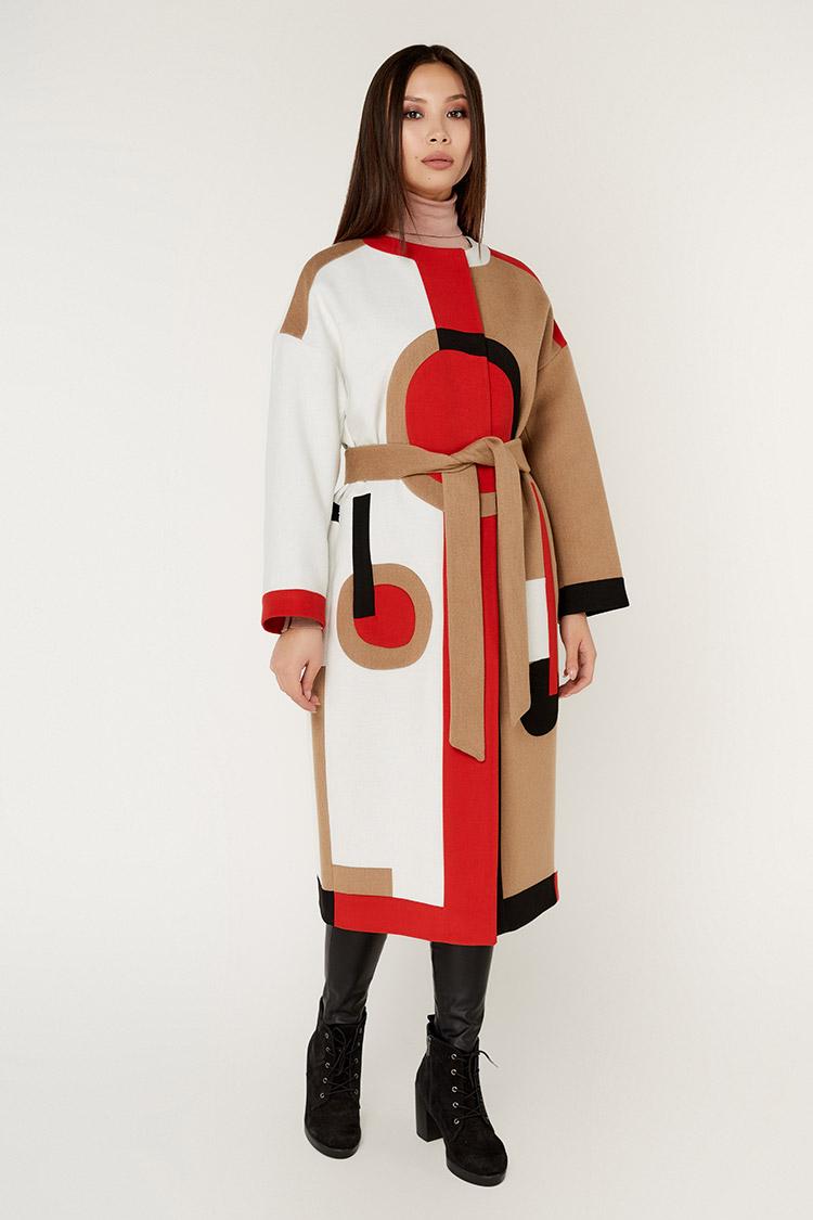 Пальто женское из кашемира мультиколор, модель 1555