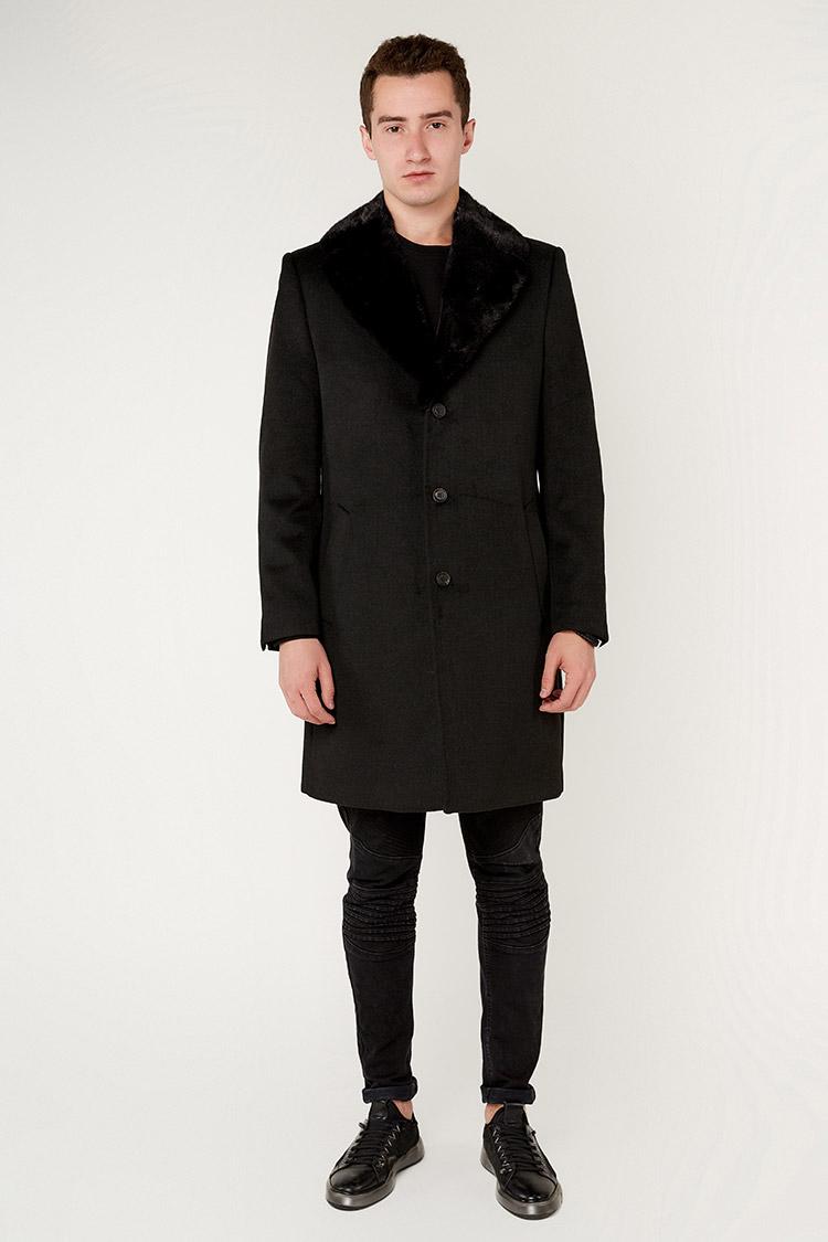 Пальто чоловiче з кашеміру чорне, модель 4030