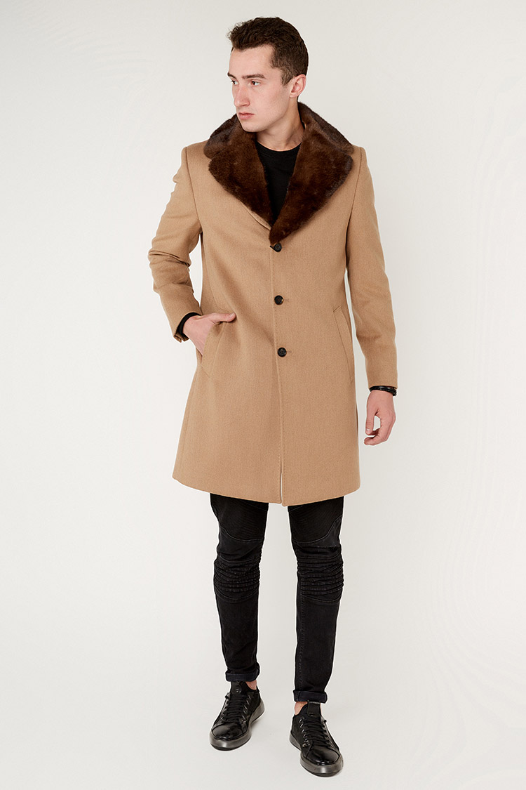 Пальто чоловiче з кашеміру бежеве, модель 4030
