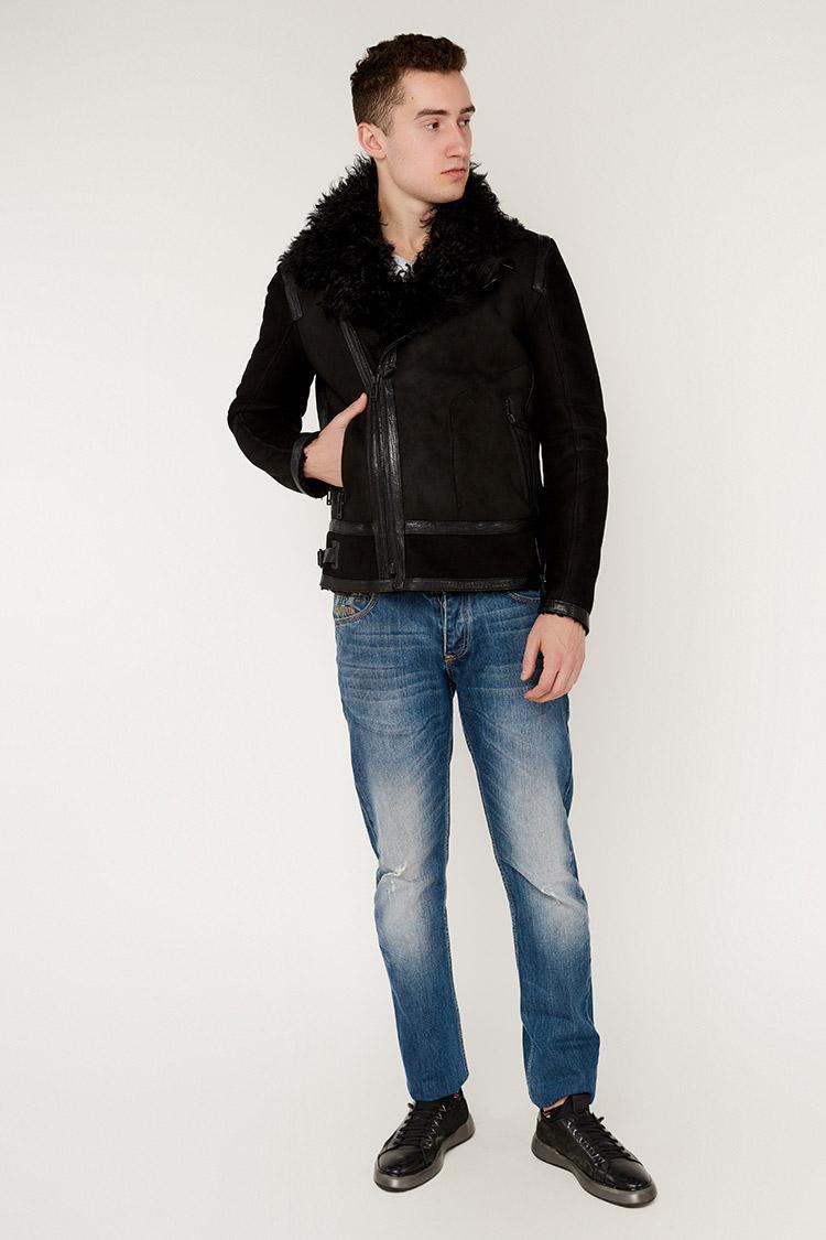 Дубленка мужская из замша черная, модель 3374