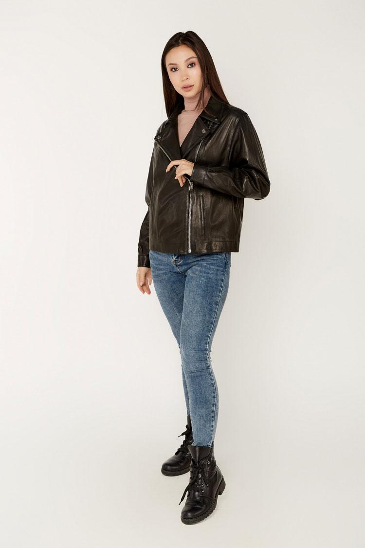 Куртка женская из натуральной кожи черная, модель B-2145