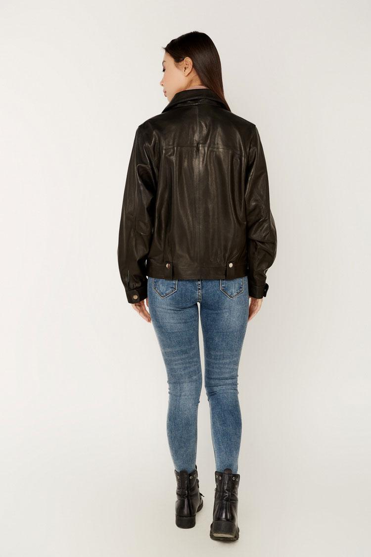 Куртка жiноча з натуральної шкіри чорна, модель B-2145