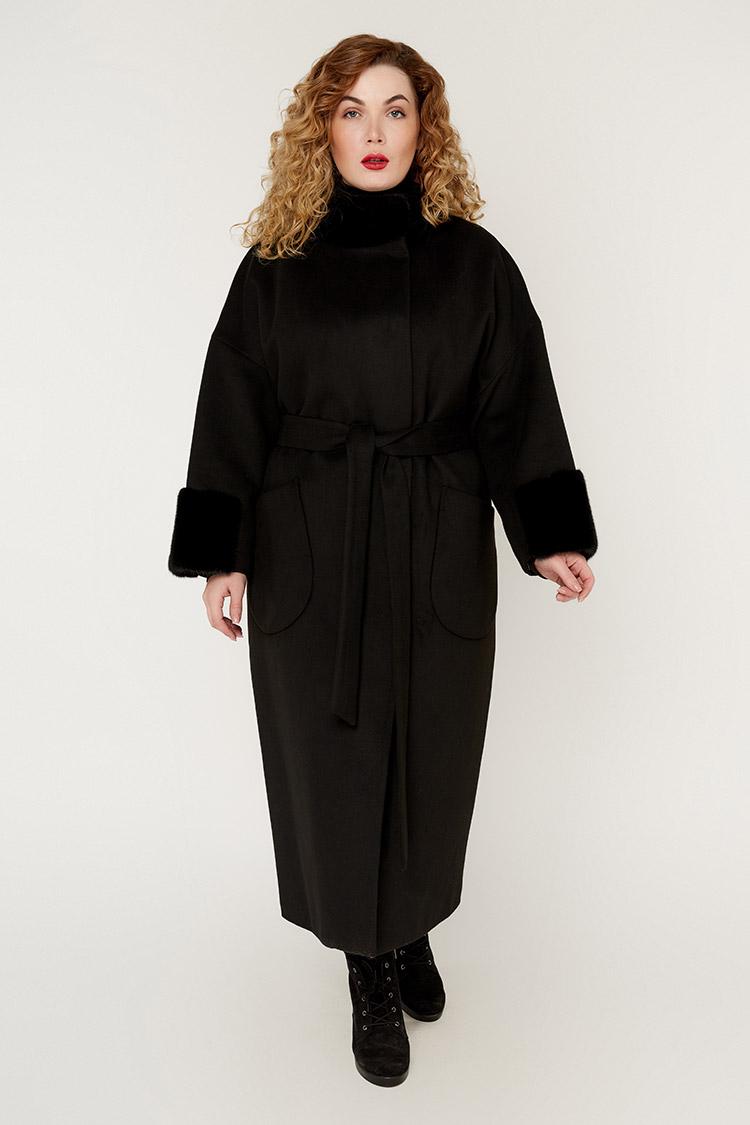 Пальто женское из кашемира черное, модель 1426