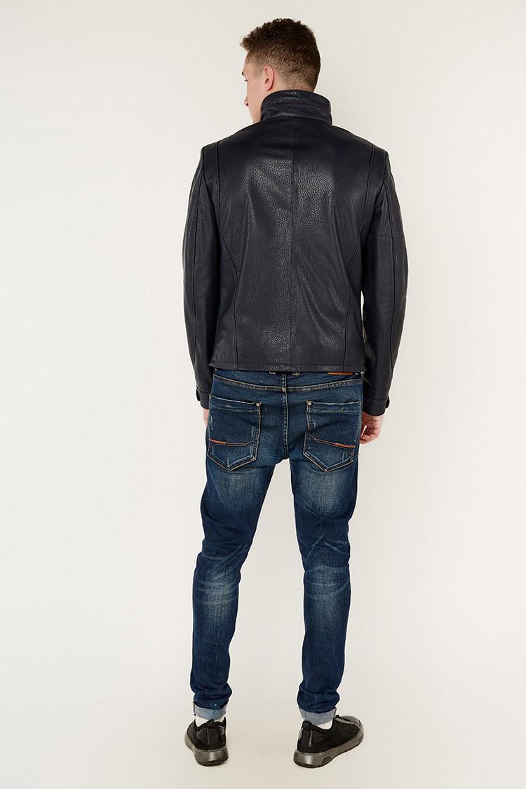 Куртка чоловіча з натуральної шкіри синя, модель DR-1