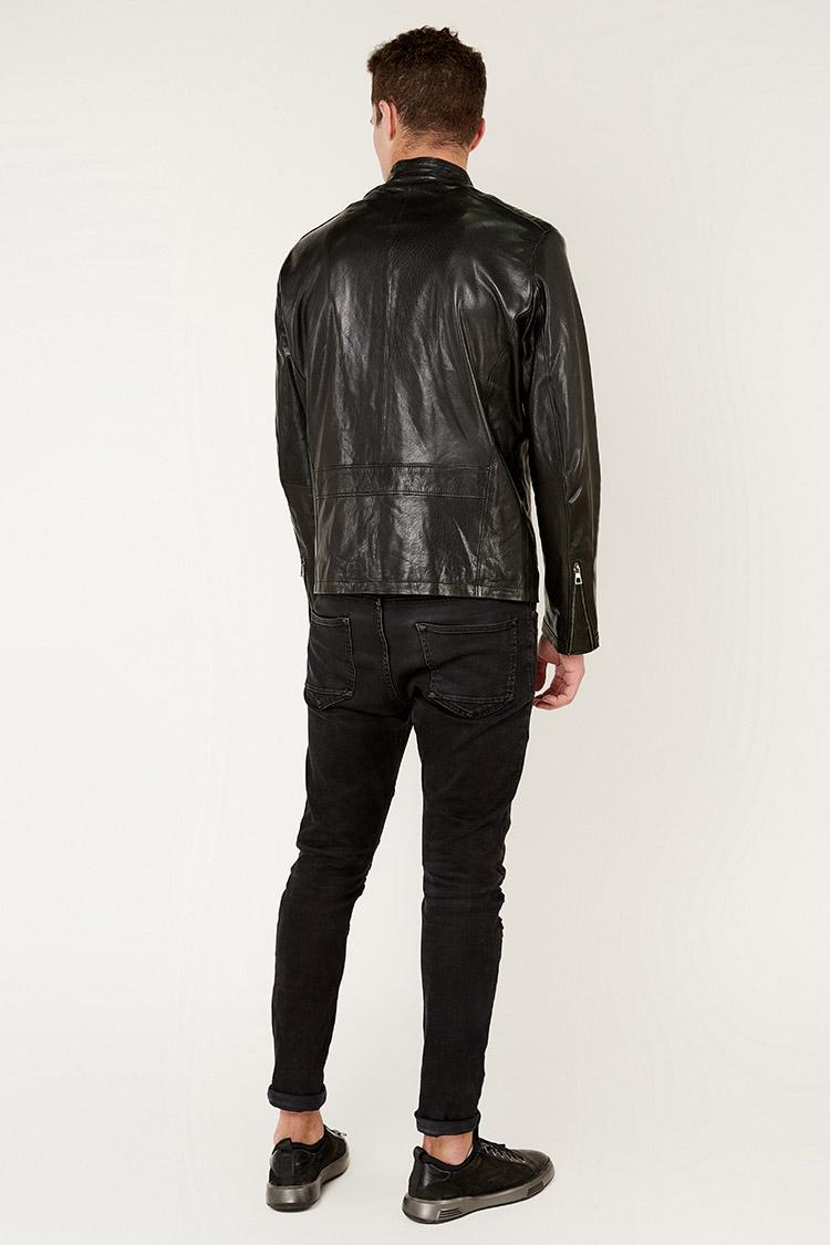 Куртка чоловіча з натуральної шкіри чорна, модель DR-4