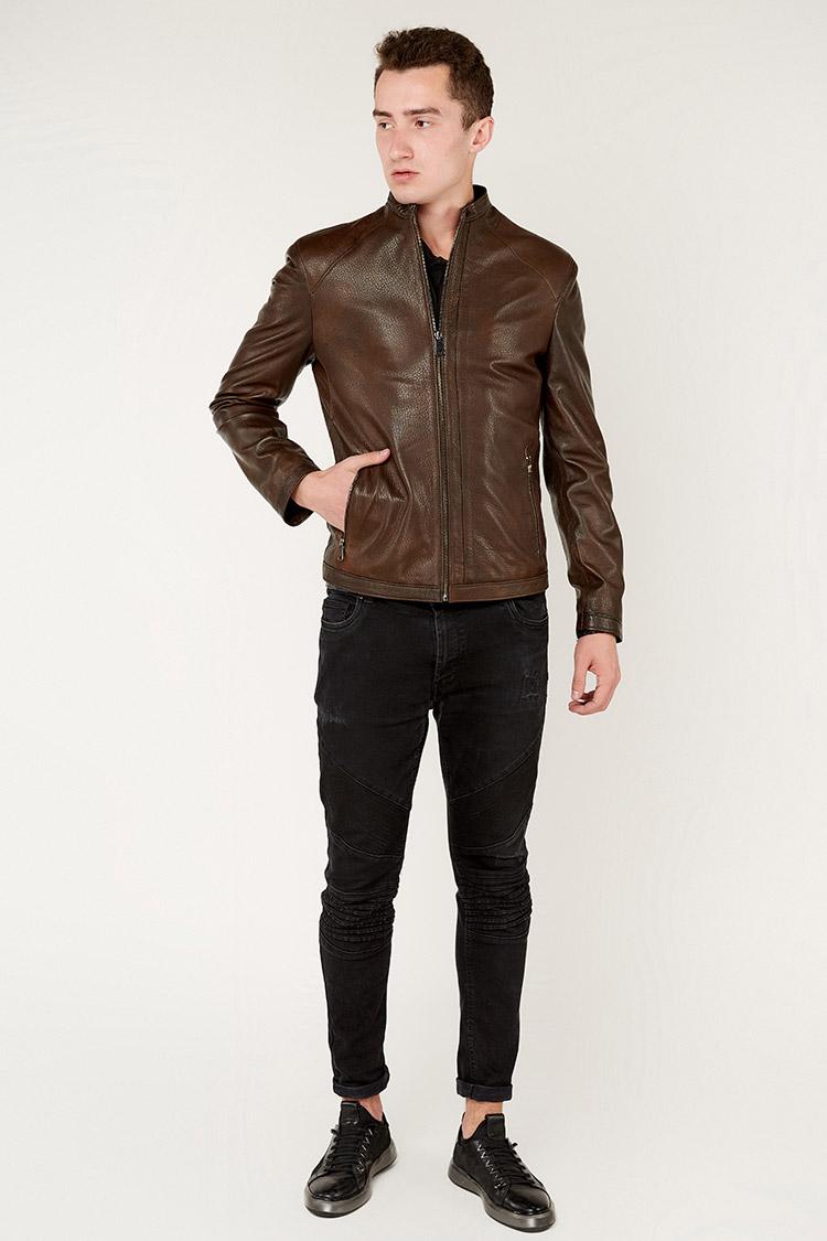 Куртка чоловіча з натуральної шкіри коричнева, модель DR-6