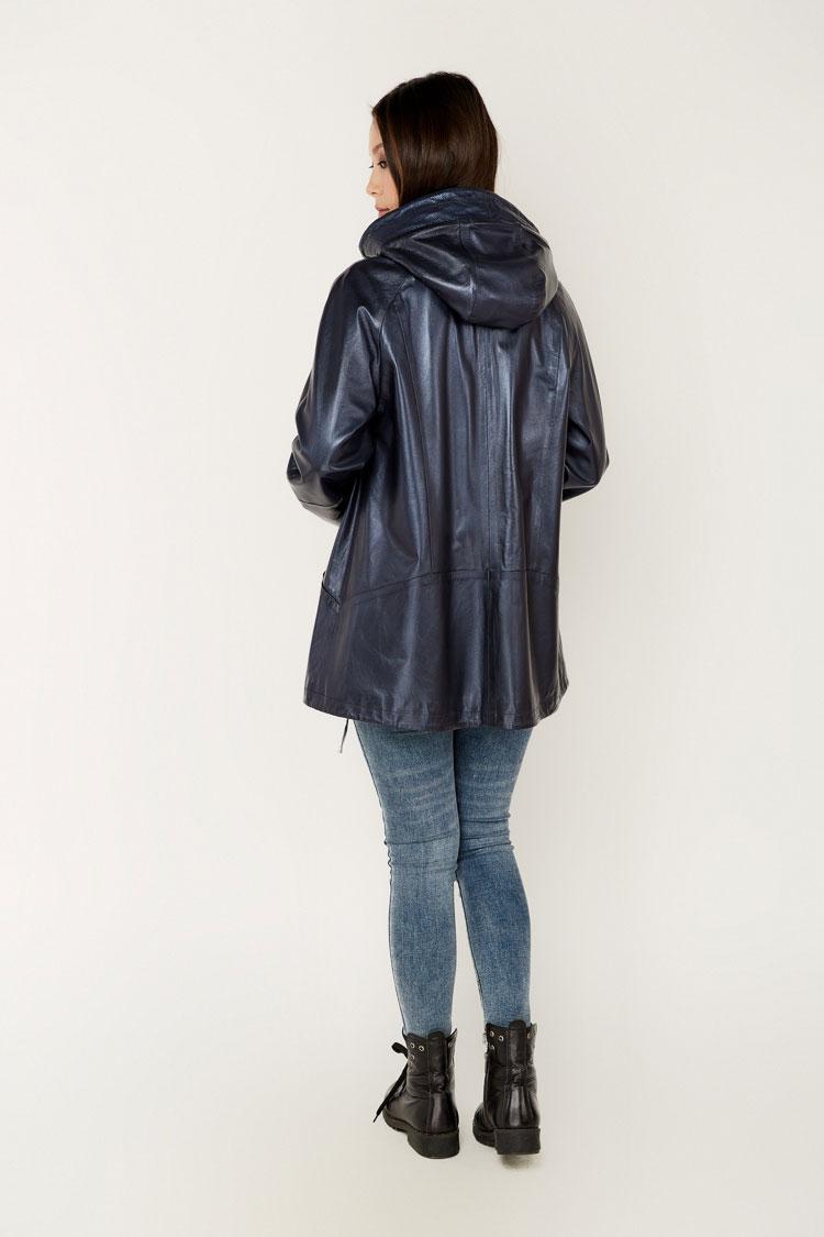 Куртка женская из натуральной кожи синяя, модель 718/KPS