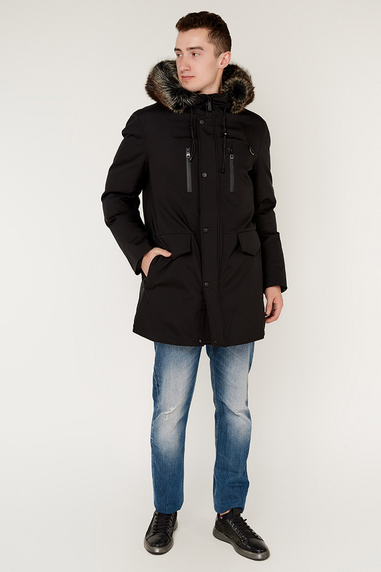 Куртка чоловіча з трикотажу чорна, модель 88215/KPS