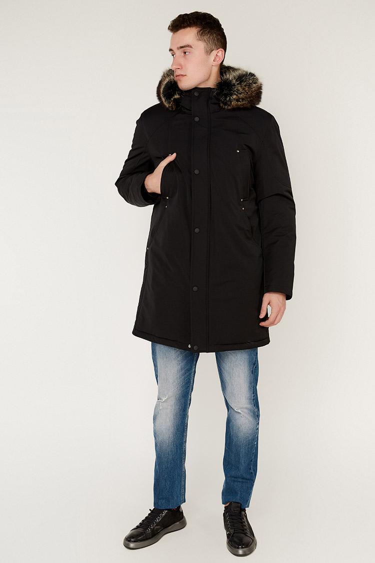 Куртка чоловіча з трикотажу чорна, модель 88157/KPS