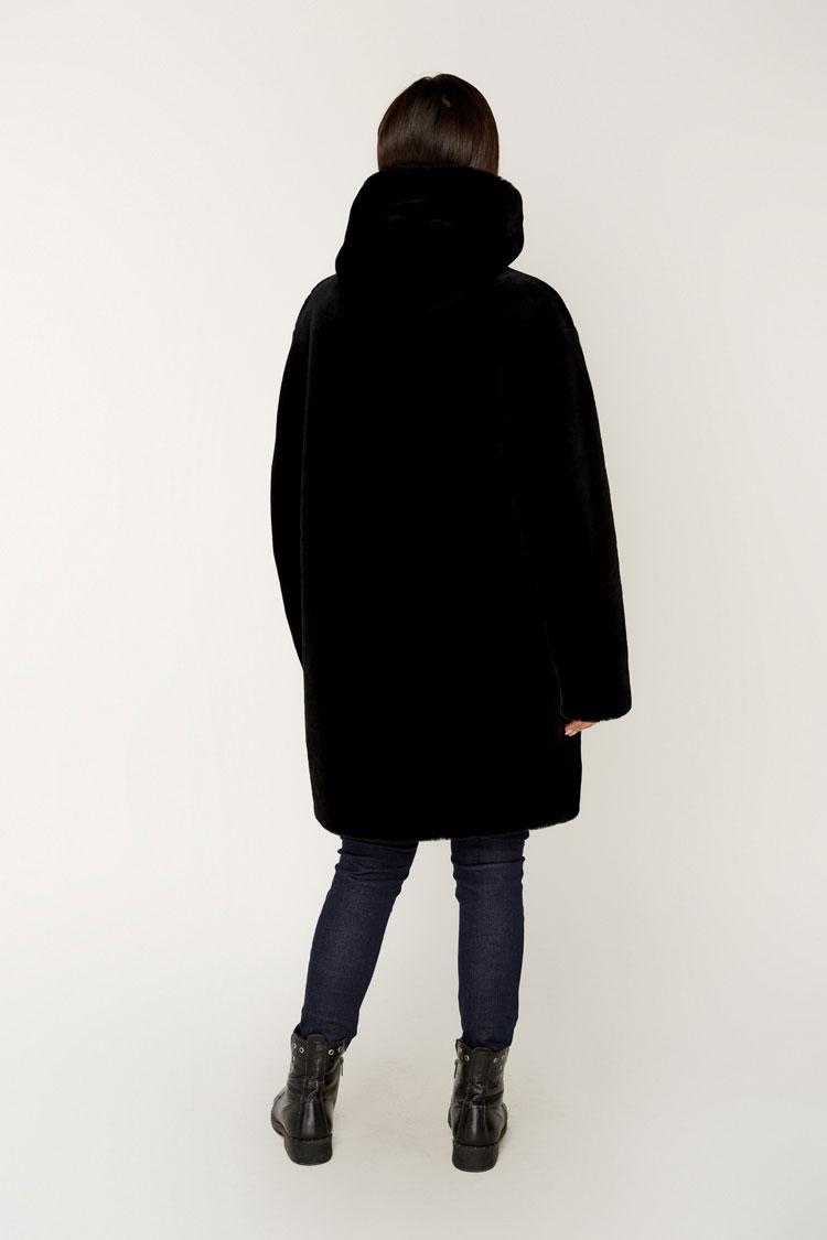 Шуба жiноча з мутону чорна, модель 1985/T/KPS