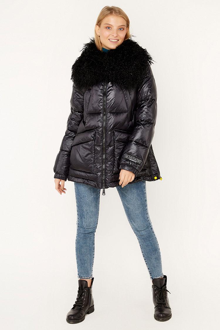 Куртка женская из полиэстера черная, модель EW9109M