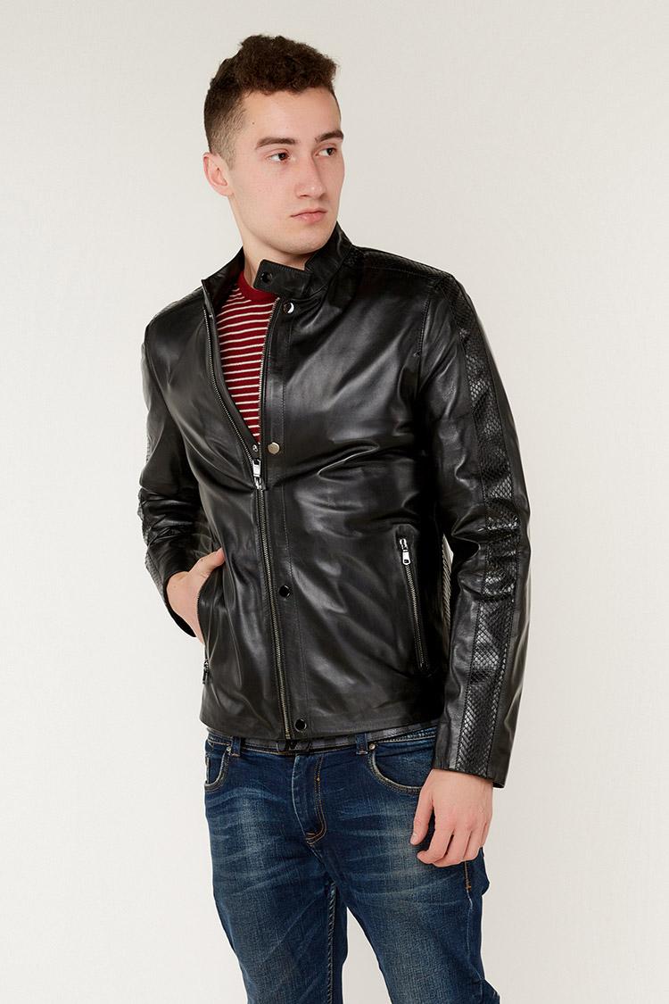 Куртка чоловіча з натуральної шкіри чорна, модель F-497