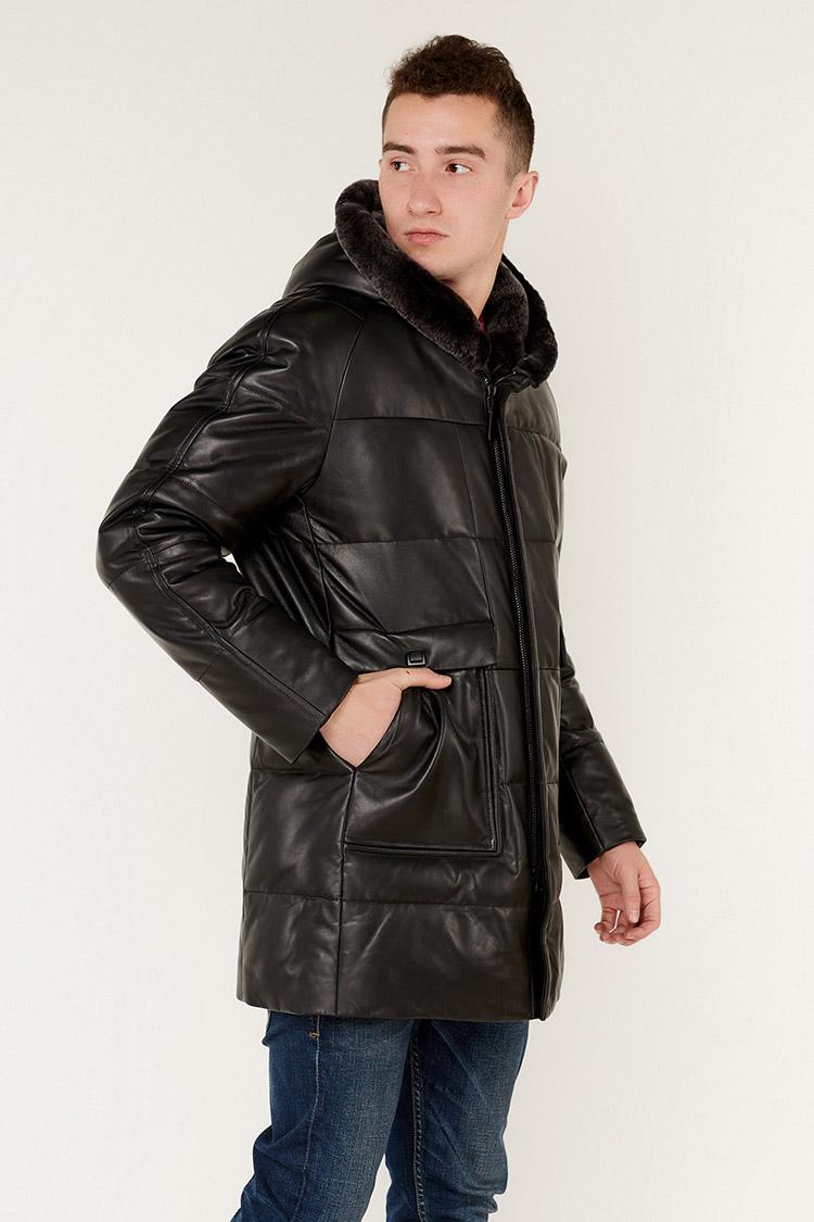 Куртка чоловіча з натуральної шкіри чорна, модель DP509-1/KPS