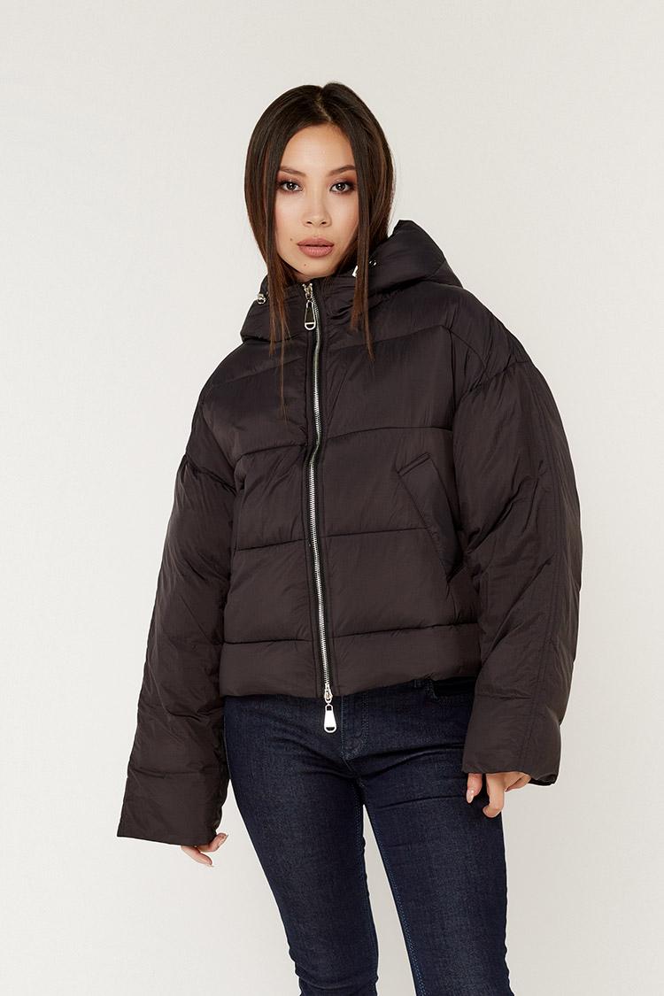 Куртка жiноча з полиэстера чорна, модель T5185/KPS