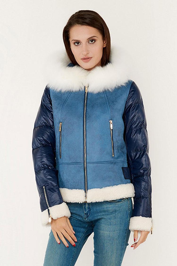 Куртка женская из шерсти синяя, модель D9109/KPS