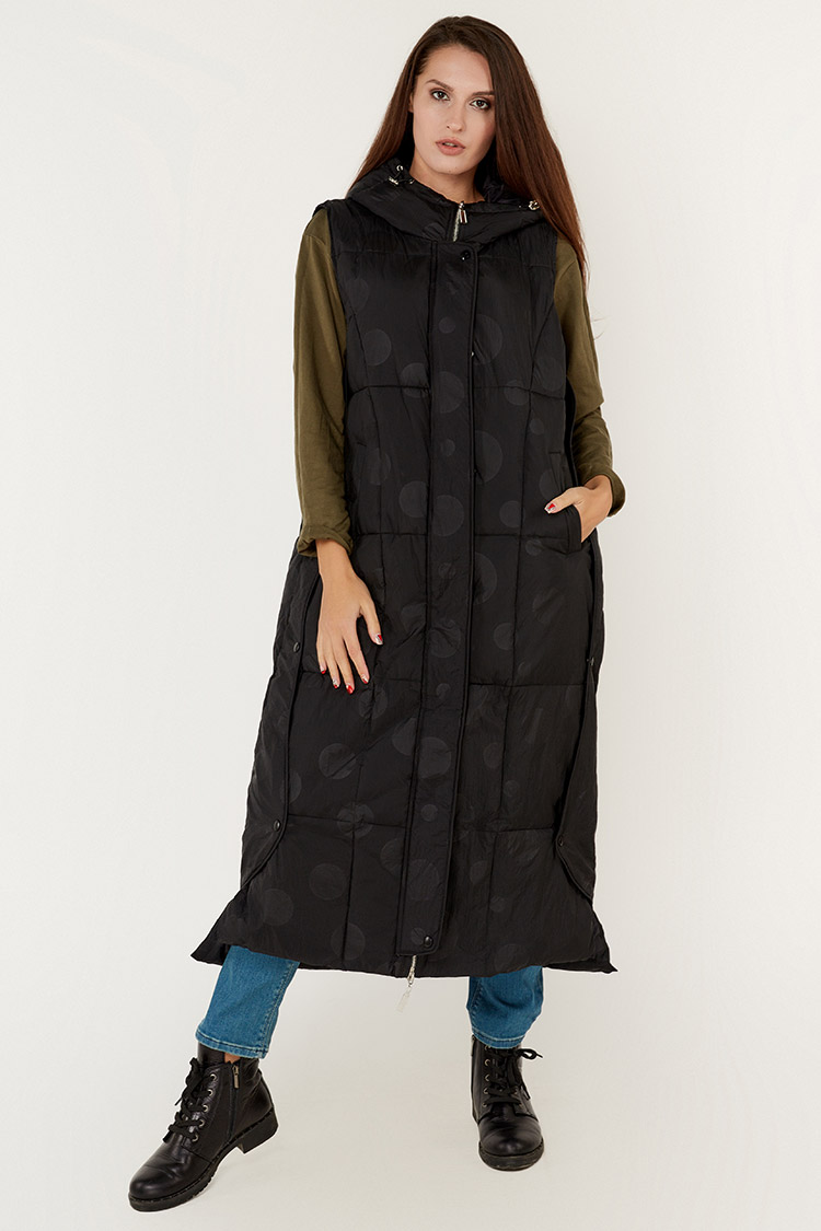 Куртка женская из полиэстера черная, модель T5196/KPS+жилет