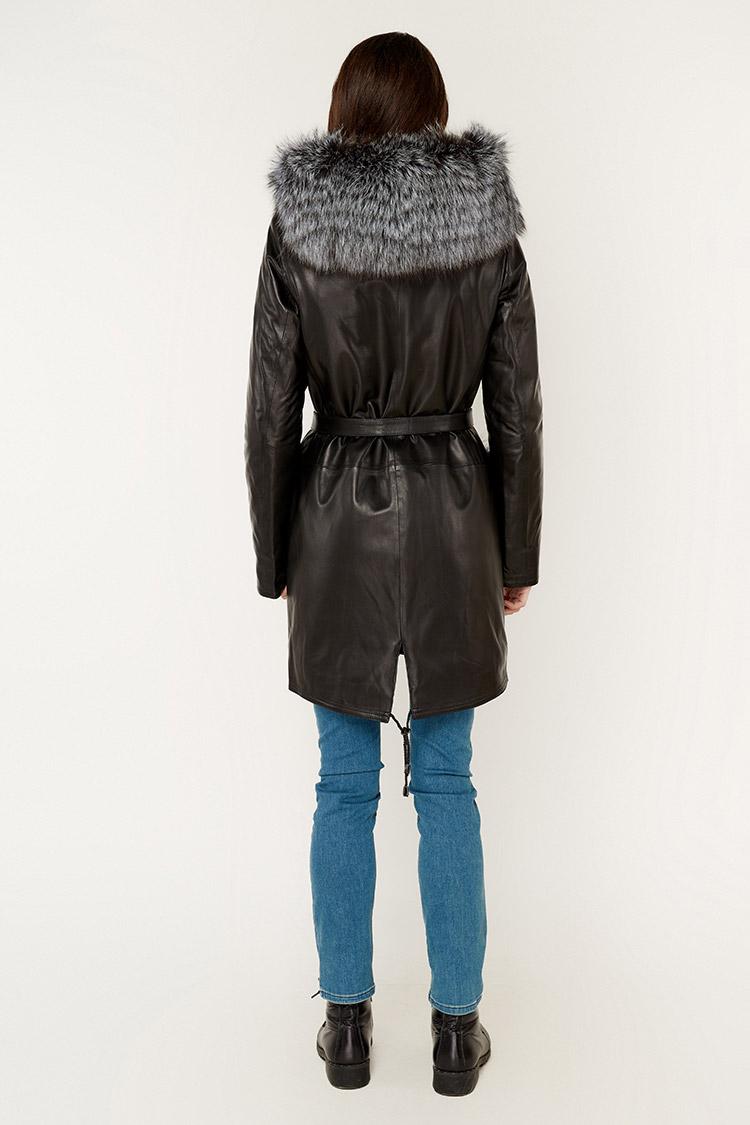 Куртка женская из натуральной кожи черная, модель 1905/KPS
