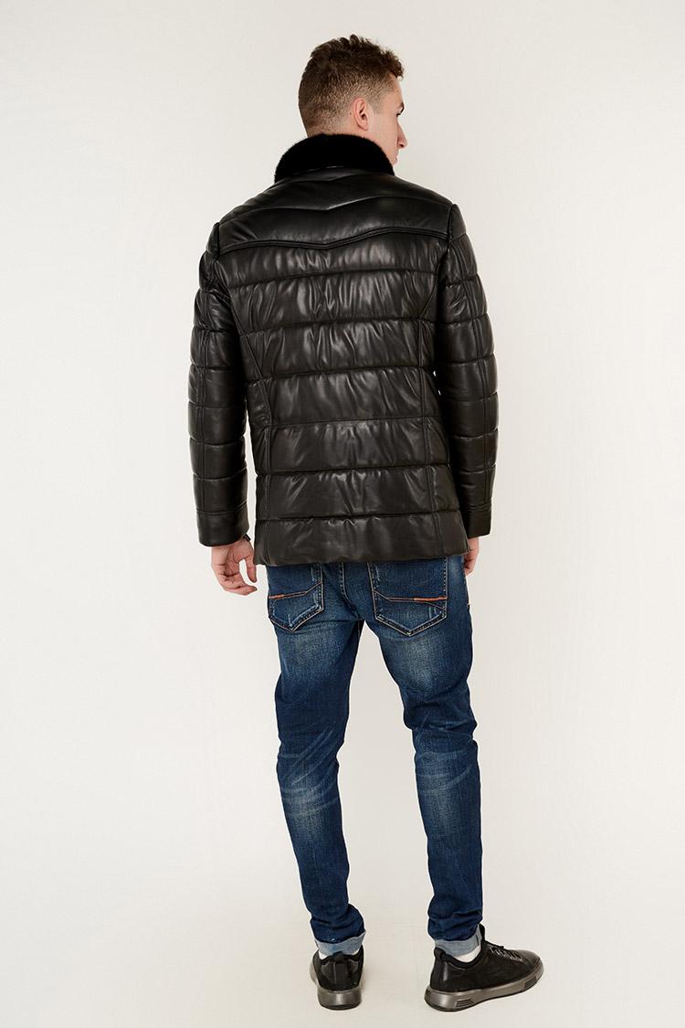 Куртка чоловіча з натуральної шкіри чорна, модель 7753