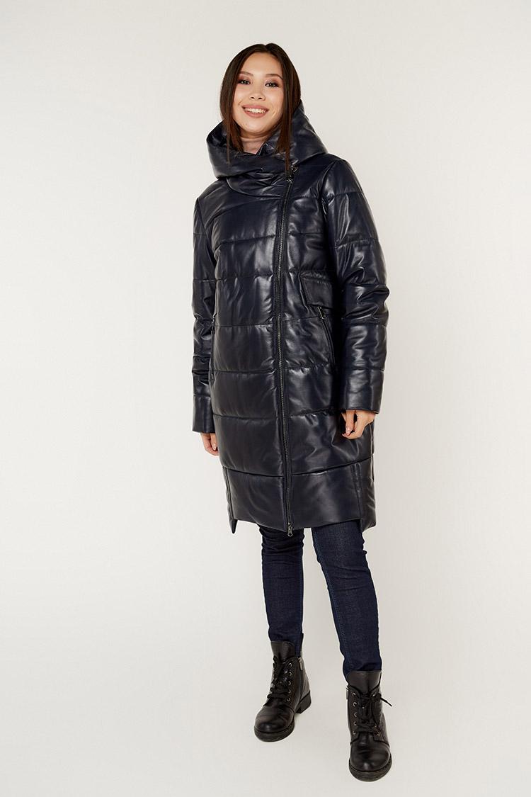 Куртка женская из натуральной кожи синяя, модель 2015/KPS