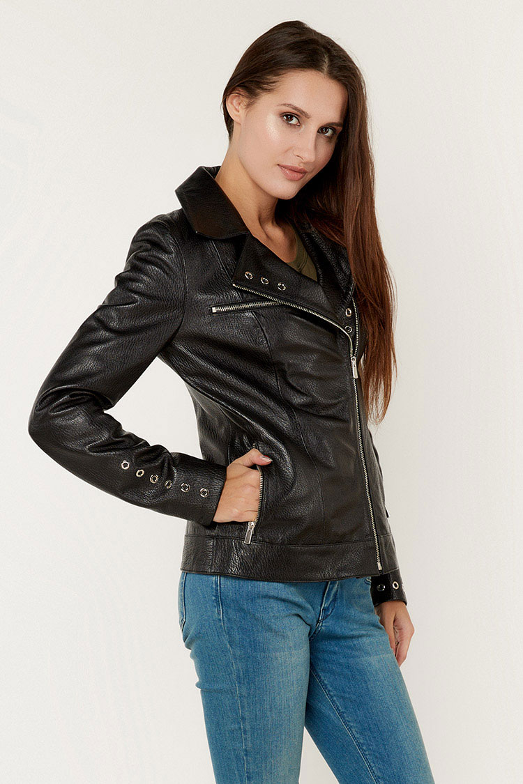 Куртка женская из натуральной кожи черная, модель DC-1770
