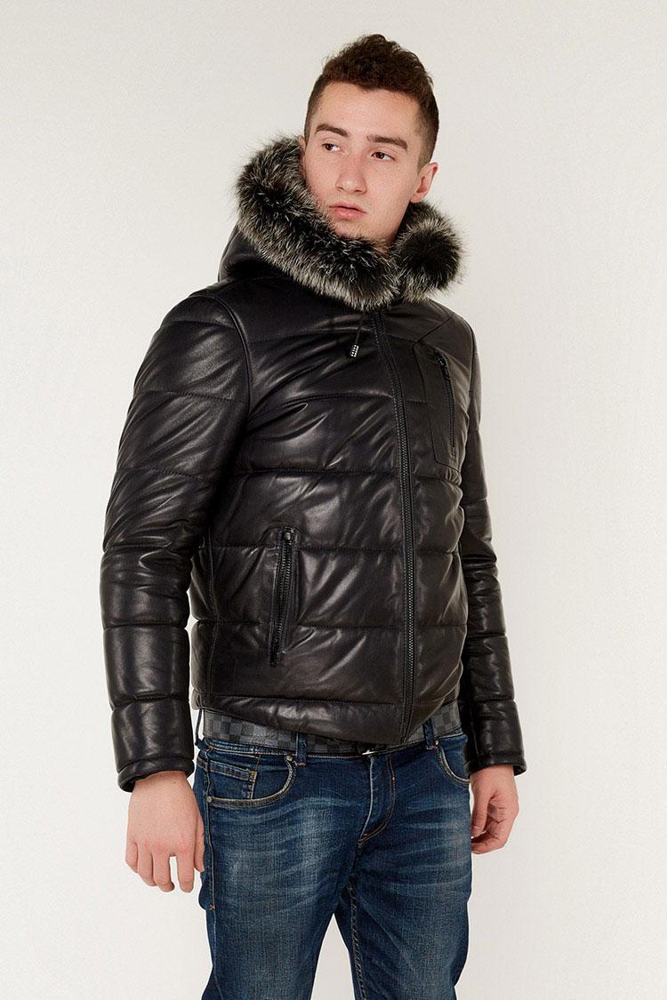 Куртка чоловіча з натуральної шкіри синя, модель F-368/KPS