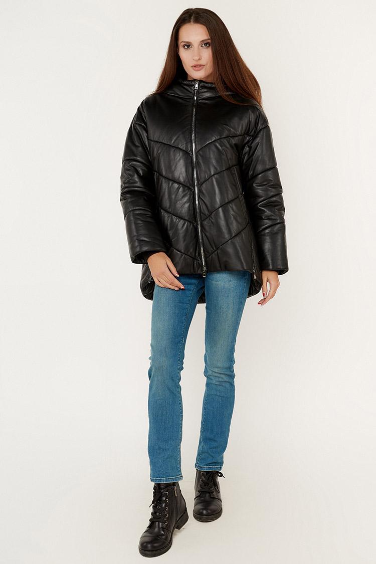 Куртка женская из натуральной кожи черная, модель DC-3001/KPS