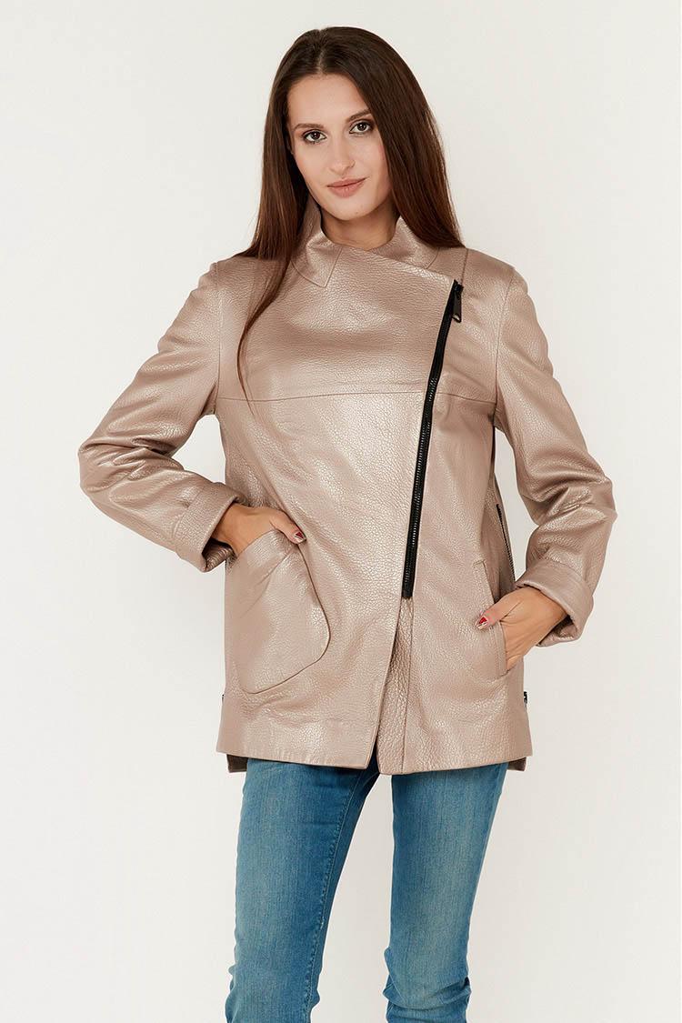 Куртка женская из натуральной кожи бежевая, модель 338