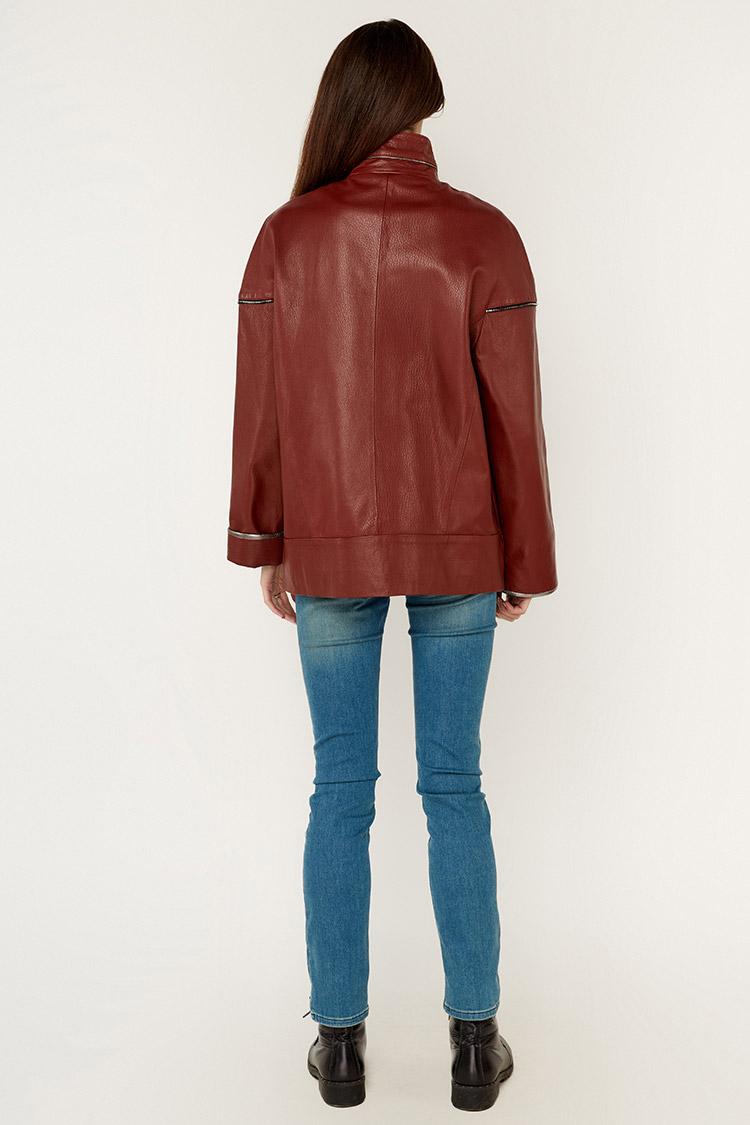 Куртка женская из натуральной кожи красная, модель DC-1685