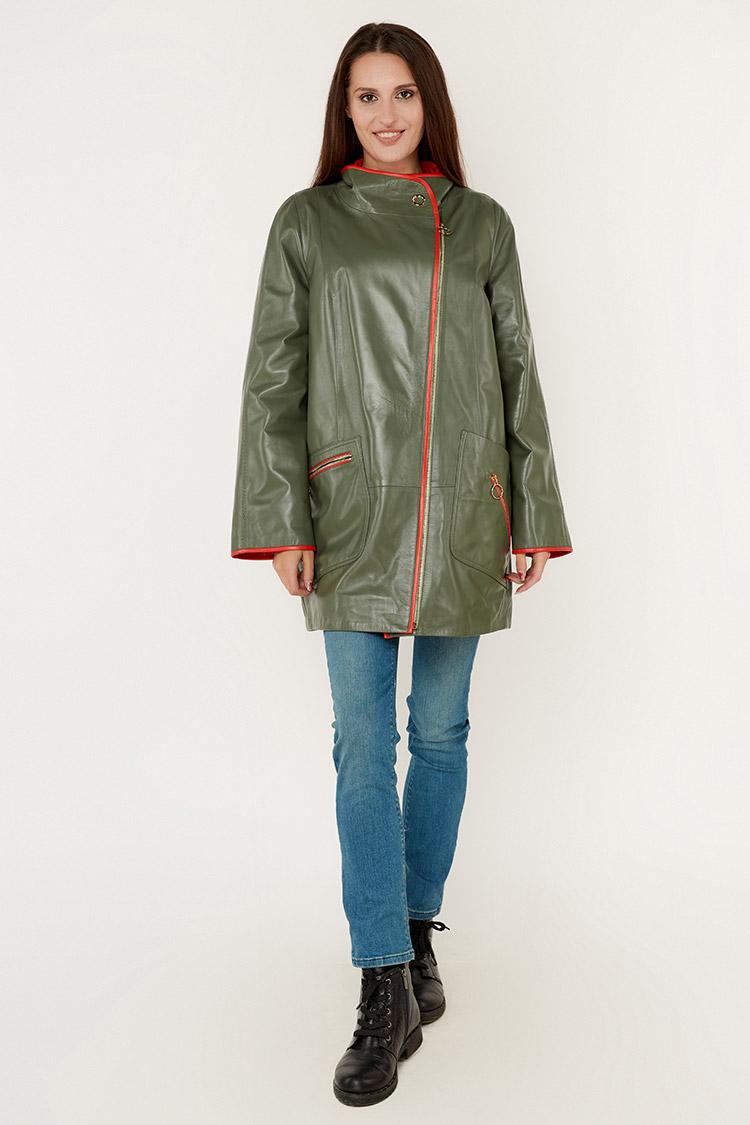 Куртка женская из натуральной кожи зеленая, модель DC-1769