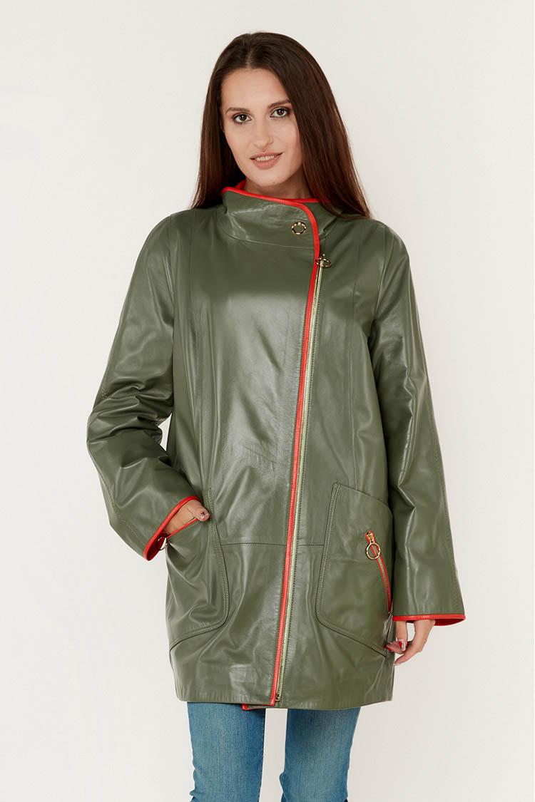 Куртка жiноча з натуральної шкіри зелена, модель DC-1769