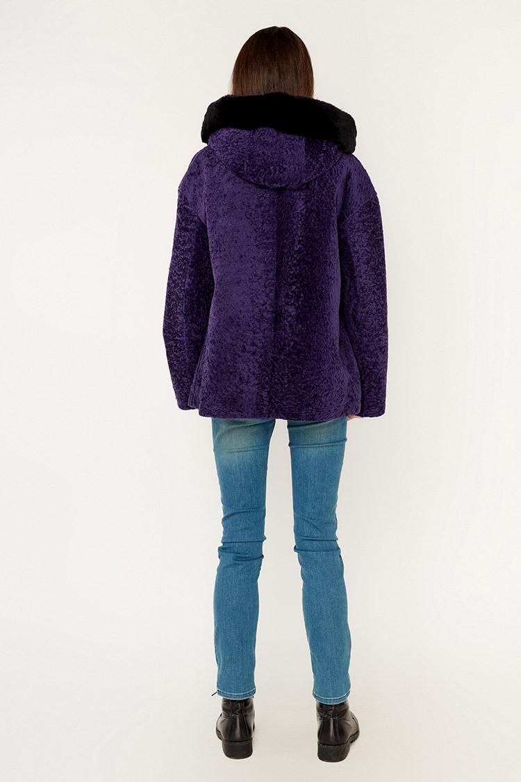 Шуба женская из астрагана фиолетовая, модель AST-38133/KPS/kisa