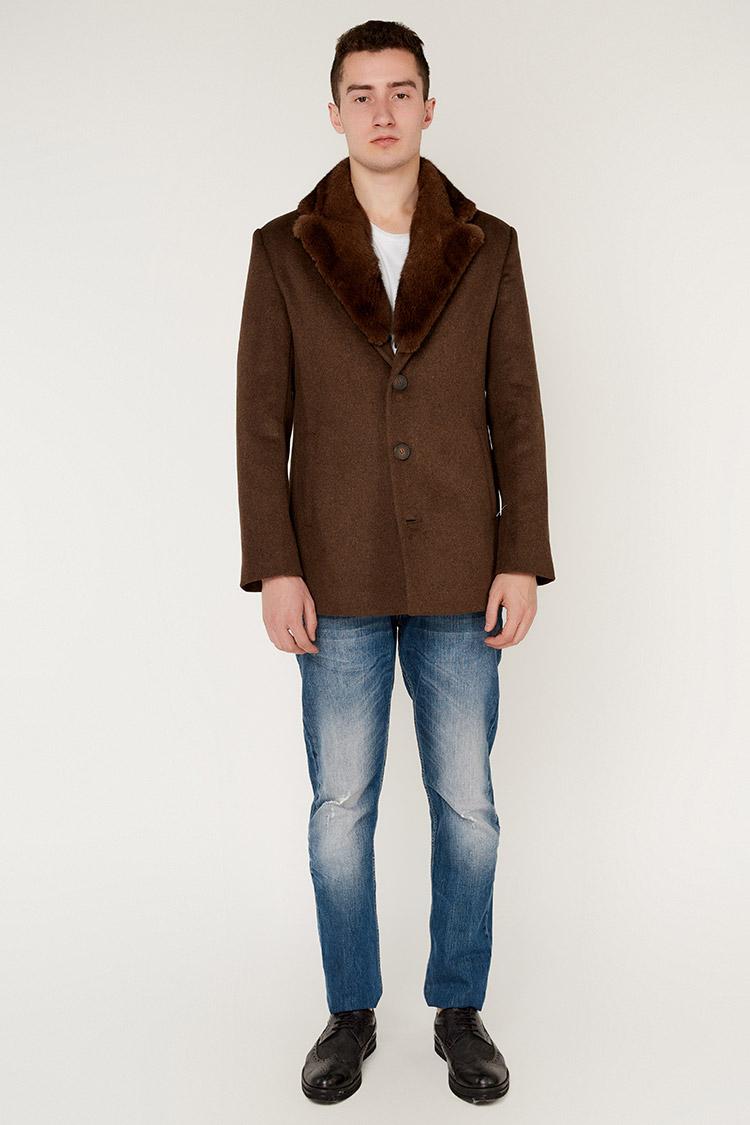 Пальто мужское из кашемира коричневое, модель GVN-260