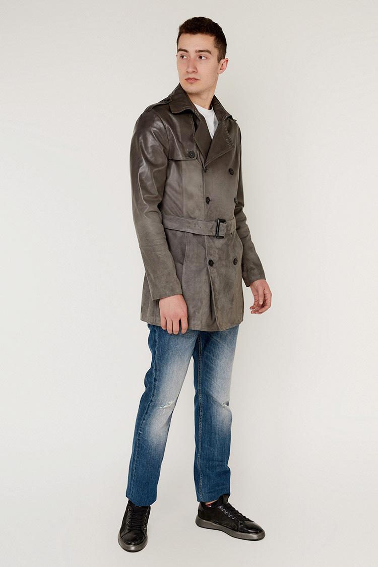 Куртка мужская из натуральной кожи серая, модель 4304