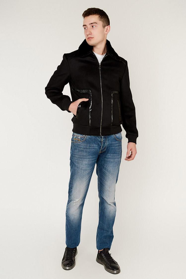 Пальто мужское из кашемира черное, модель FMS-401