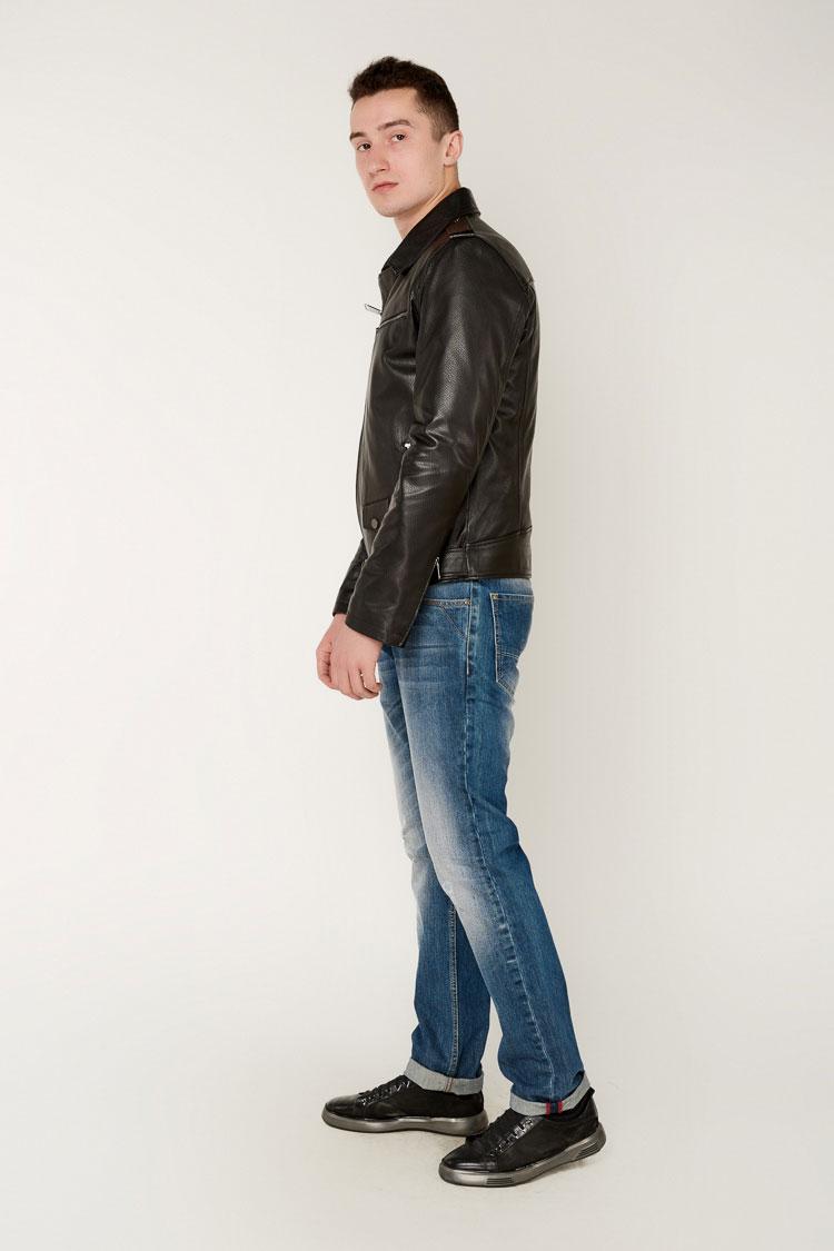 Куртка мужская из натуральной кожи черная, модель E-49