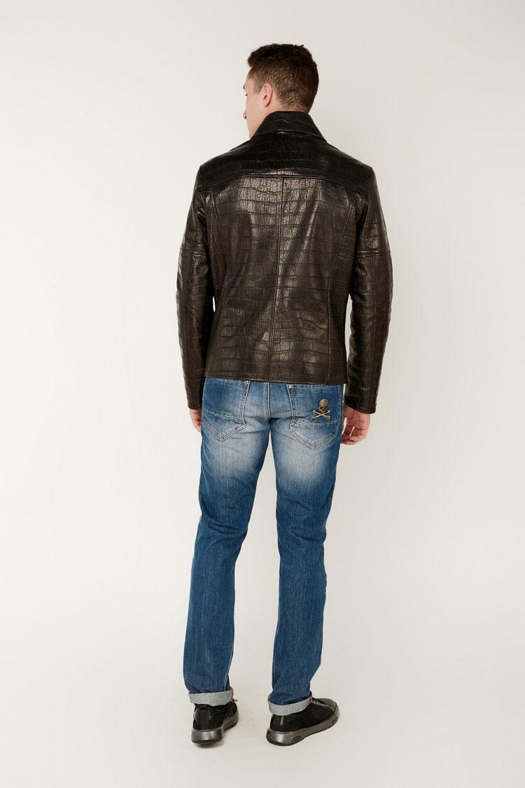 Куртка мужская из натуральной кожи черная, модель 1488