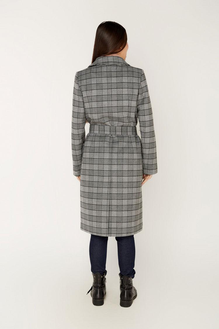 Пальто женское из кашемира серое, модель 1655