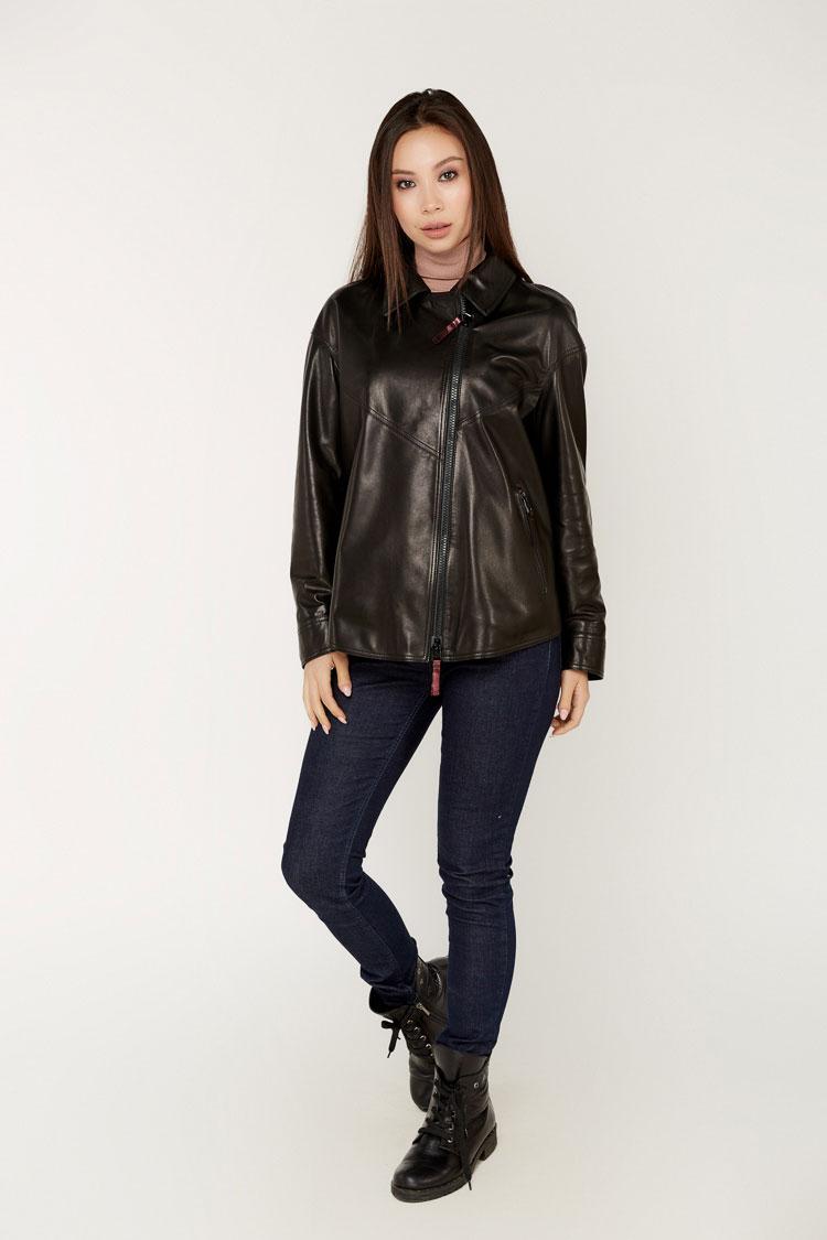 Куртка женская из натуральной кожи черная, модель 152