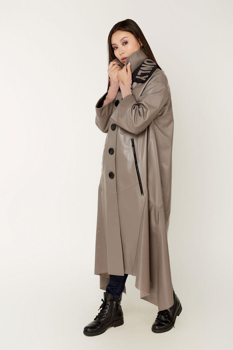 Куртка жiноча з натуральної шкіри коричнева, модель 163
