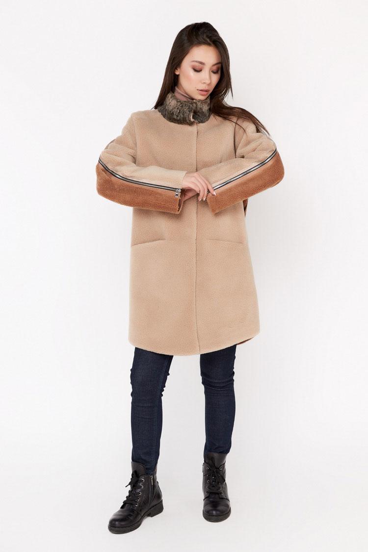Пальта жіночі з вовни бежеве, модель EM-71