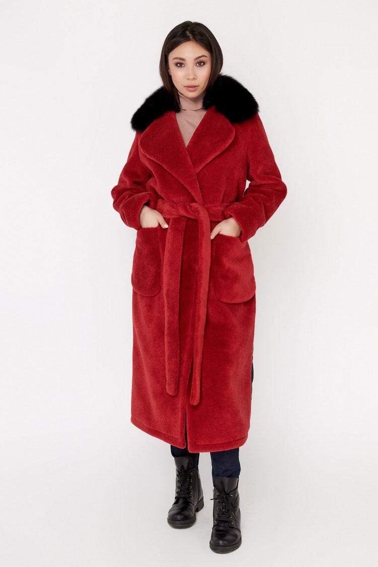 Пальто женское из шерсти красное, модель EM-60
