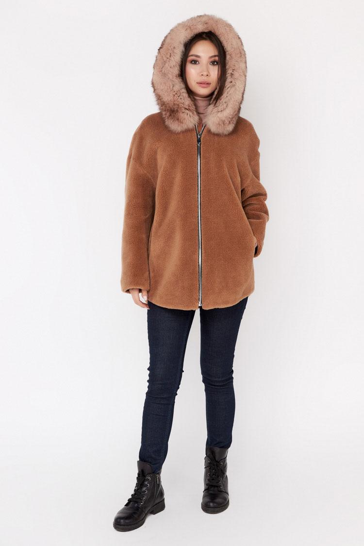 Пальто женское из шерсти коричневое, модель EM-61/KPS