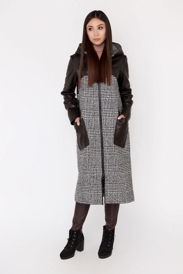 Пальто женское из шерсти серое, модель C 582/KPS